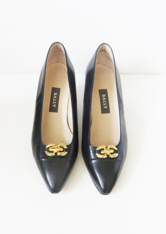 Vintage Bally Black Leather Court Shoes - Gold Buc