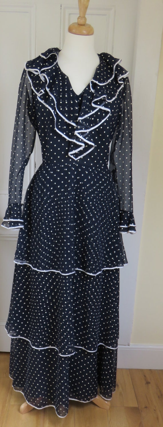 9d58151e7 Vintage Mohr Kleider 1960's West German, Polka Dot, Prairie, Boho, Evening  Dress - Excellent Condition
