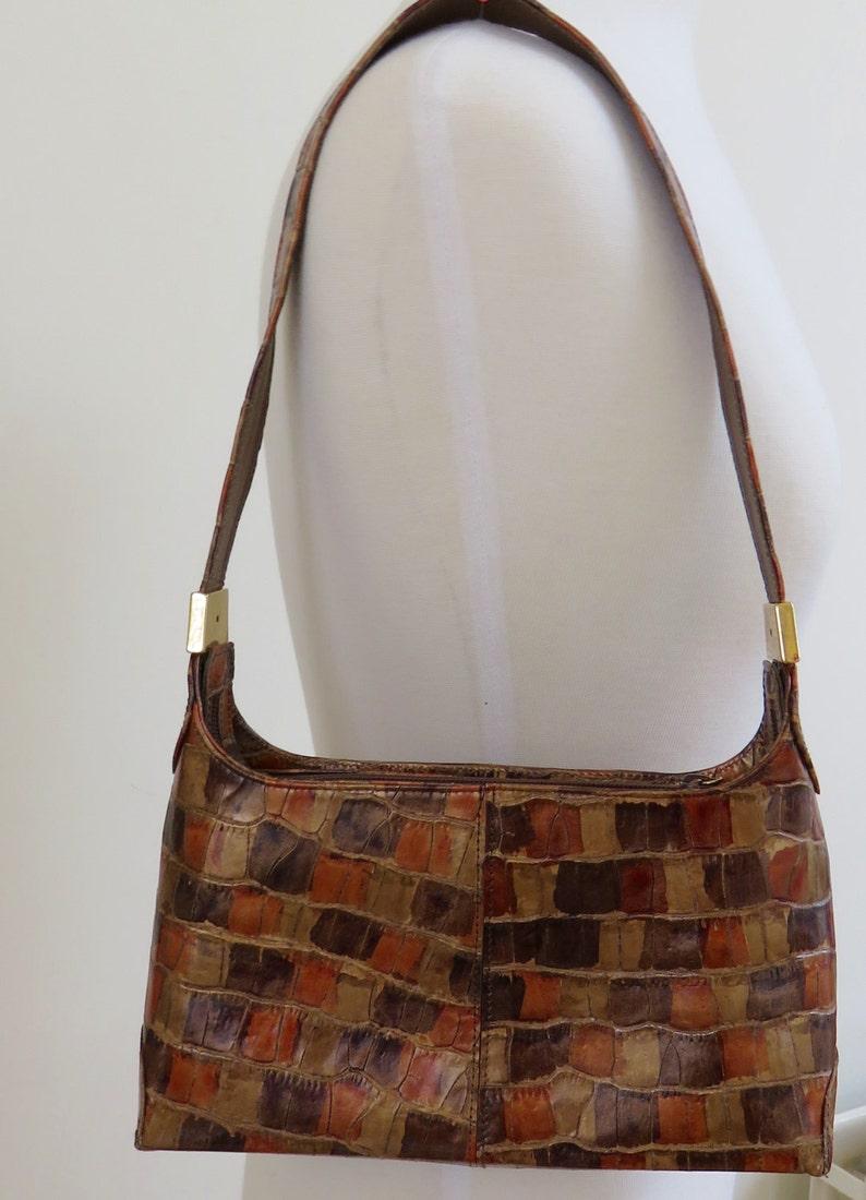 bd6b53e52 Superb Vintage Stuart Weitzman Leather Mock Croc Handbag