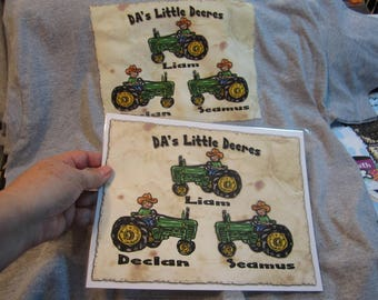 PAPA'S LIL' TRACTOR Buddies TShirt for Papa, Grandpa, Dad, Names added Free Perfect for Him All sizes Personalized for Him All Sizes Sm-3XL