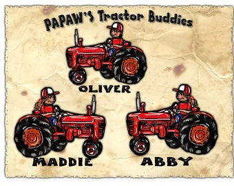PAPA'S LIL' TRACTOR Girls or Buddies TShirt for Papa, Grandpa, Dad, Names added Free All Sizes Sm-3XL Perfect for Him All sizes Personalized