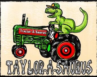 T-Rex TRACTOR-A-SAURUS DINOSAUR T-Shirt Kid's Name Added Free! Jurassic World Inspired Original Dinosaur Art Best Dinosaur T-Shirts On Etsy