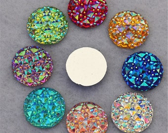 100 Piece 16MM Holographic Crystal Resin 16MM Round Flatback Druzy Rhinestones Scrapbooking Crafts Jewelry Accessories