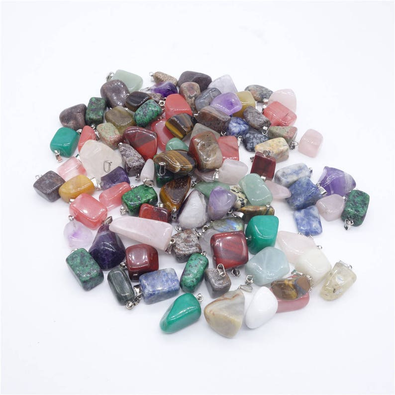 36 Piece Wholesale Lot Natural Irregular Stone Pendants for DIY Jewelry Making Gemstone Beads for Necklace Quartz Turquoise Amethyst Etc