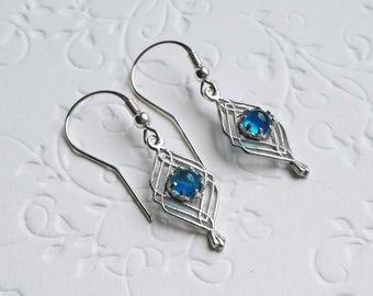 dainty sterling silver blue earrings for women