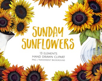 Sunflower Clipart Sunday Floral Flower Summer Wedding Art Planner Shabby Chic