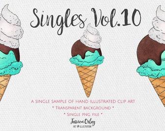 Watercolour Icecream, Icecream, Ice Cream Clipart, Handmade Watercolor, Watercolor Clipart, Ice Cream Clipart, Digital Clipart, Web Graphic