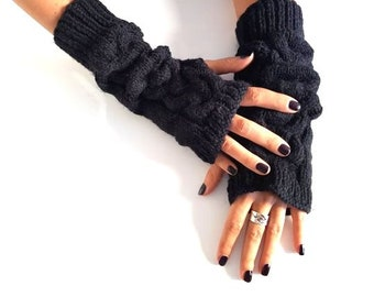 Fingerless gloves mittens - Knit arm warmers - Christmas gifts for mother -  Winter fall accessories - Wrist warmers - Winter knitted gloves