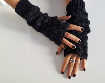 Black fingerless gloves mittens, Black arm warmers, Christmas gifts, gift for her, winter accessories, wrist warmers, winter knitted gloves