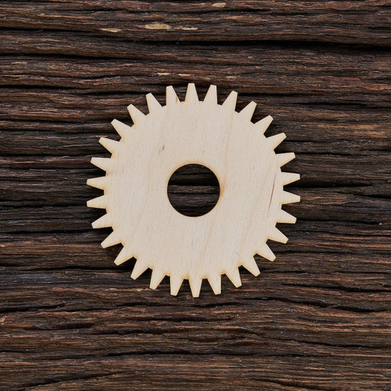 Crafting Supplies Set of 5 Wooden gears Unfinished Laser Cut Wood A007