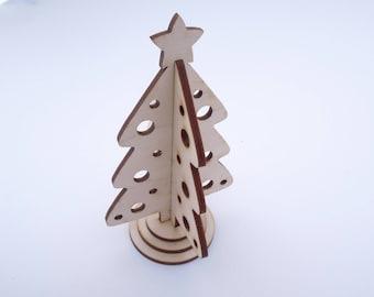 Wooden Mini Christmas Tree - Interlocking for Crafts - Laser Cut - Christmas Decor - Christmas Ornaments - Holiday Decoration