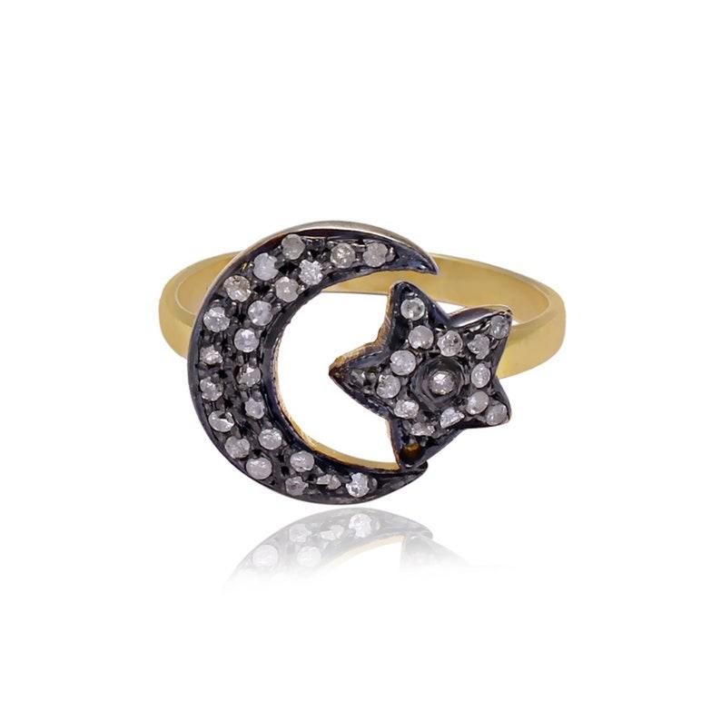 Diamond Moon Star Ring 925 Fine Silver Religious Ring Vintage Diamond Ring Oxidized Silver Ring Fatima Ring Celestial Ring Star Ring