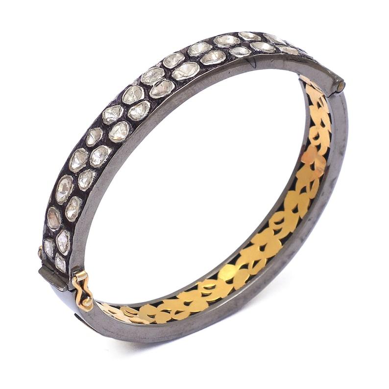 Wedding Bangle Jewelry Vintage Bracelet Bangle Uncut Polki Bangle Gold Plated Silver Bangle Mothers Day Gift Victorian Polki Bangle