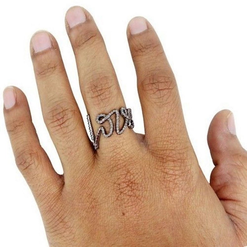 Propose Ring Express Love Diamond Ring Mothers Day Gift  Diamond Love Ring Diamond Promise Ring 925 Sterling Silver Cursive Love Ring