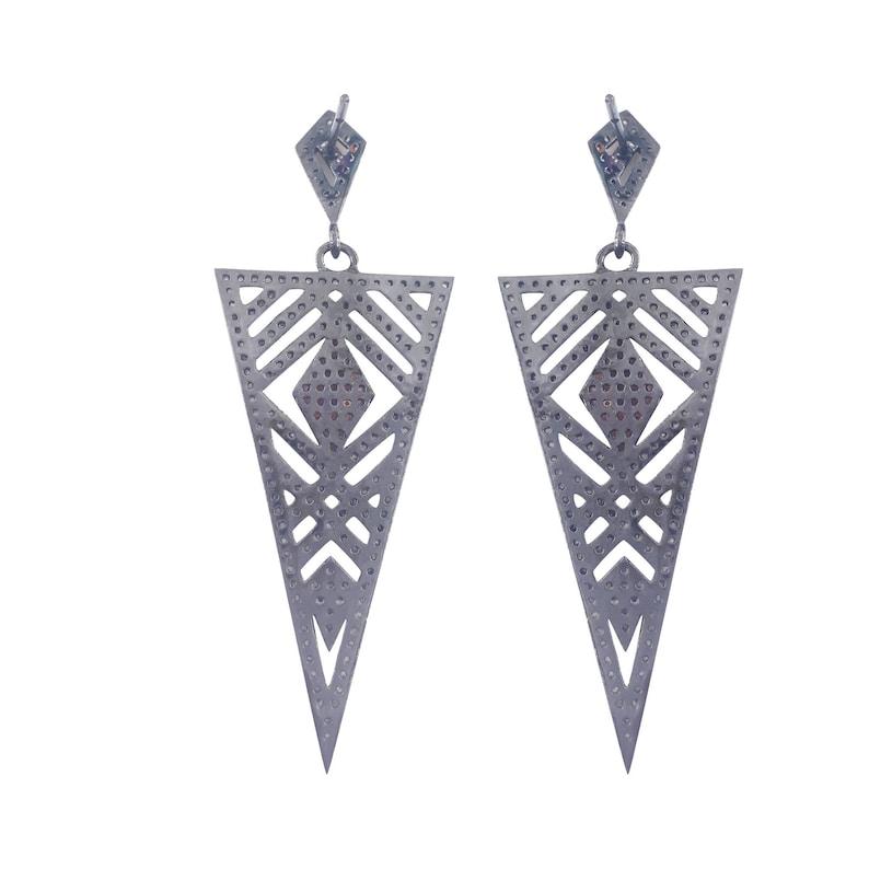 925 Sterling Silver Ruby Earrings Triangle Earrings Gemstone Earrings Wedding Earrings Dangle Drop Earring Vintage Diamond Earrings