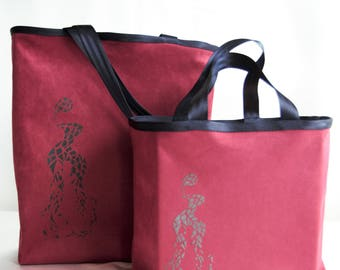 Duo bags mother/daughter customizable tote bags, bags screen printed, machine washable and reversible. Made in Paris.