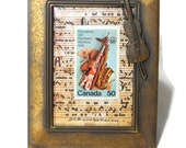 Framed Vintage Postage Stamp – For the Love of Music and Performing Arts ~ Canadian Stamp  Olympics ~ Brushed Metal Frame With Cello/Violin