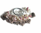 Elegant Wedding Party Wine Charms Set of 6 on Ring Holder Pearl Beads and Pink Rhinestone Spacers – Ready to Ship
