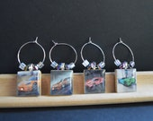Dream Cars on Vintage Scrabble Tile Wine Charms ~ Set of 4 on Ring Holder ~ Great Gift For Him Ready To Ship