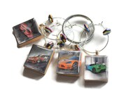 Dream Cars on Vintage Scrabble Tile Wine Charms ~ Set of 4 on Ring Holder ~ Great Gift For Him ~ Fun Father's Day Gift Idea ~Ready To Ship