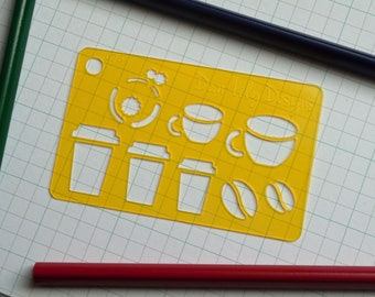 Coffee, Please; Planner Stencil, Bullet Journal Stencil - 076 (Credit Card Size Stencil)