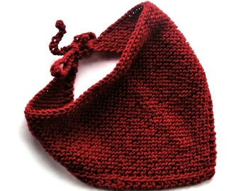 Red head wrap head wrap scarf hair bandana bohemian bandana knitted bandana bib head scarf head covering triangle scarf wool