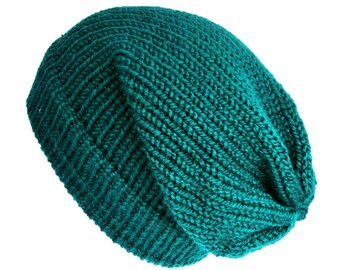 Knit teal hat wool knit hat slouch hat slouchy beanie women beanie hat knitted hat unisex beanie soft grunge gift for her wool hat chemo hat