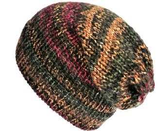 c3234821913107 Multi coloured knitted hat, slouchy beanie hat, soft vegan slouchy beanie,  grunge knit hat, wool hat women fits adults & teens, 90s grunge
