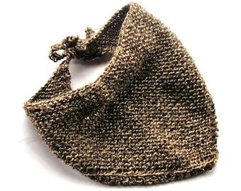 Brown hand knitted scarf boho head scarf head wrap scarf bandana bib head covering brown triangle scarf hair wrap knitted bohemian lelsloom