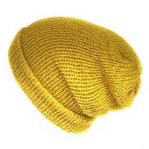Mustard yellow handmade chenille slouch beanie