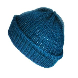trawler beanie hat with brim soft vegan wool hat this knitted winter hat will fit women Knit teal hat men and teens
