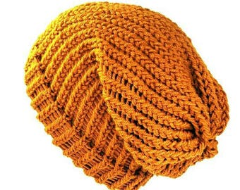 Mustard yellow slouchy hat knitted beanie dreadlock hat knit beanie wool hat slouchy beanie women slouchy hat knitted hat dreadlock tam knit