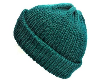Knit teal hat trawler beanie knitted hat beanie women mens hats hand knit hat fishermen beanie womens hats knit hats wool beanie soft grunge
