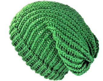 Green knit hat women slouchy beanie chemo hat dreadlock tam slouchy hat wool hat wool beanie greenery beanie women beanie hat soft grunge