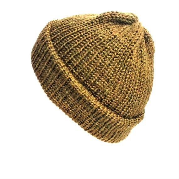 Seaweed green trawler beanie hat with brim vegan wool hat  965dcdd7938f