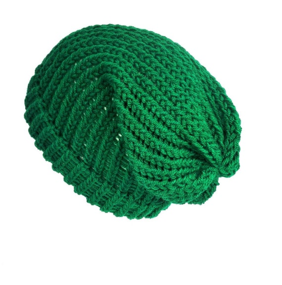 Green loose slouch beanie hat soft vegan wool cap knitted  4ba3c4609941