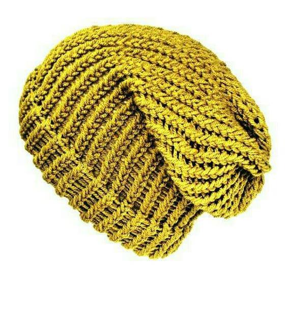 0bbc95d6174 Green beanie hat soft vegan slouchy beanie can be worn as a
