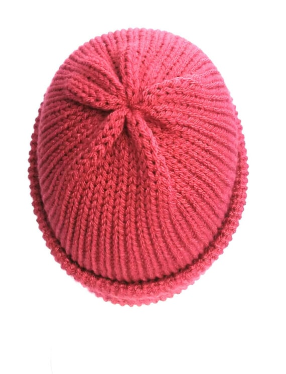 b62474d3732 Raspberry pink trawler beanie hat cuffed knit hat soft vegan
