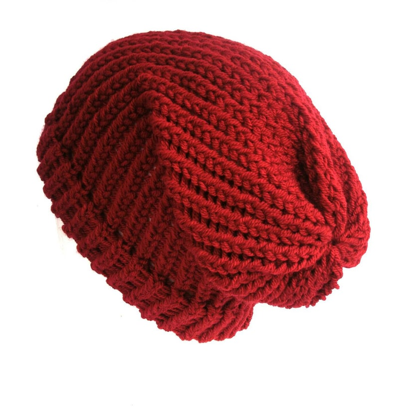 9160687f729 Red knitted hat slouch beanie soft acrylic vegan wool girls
