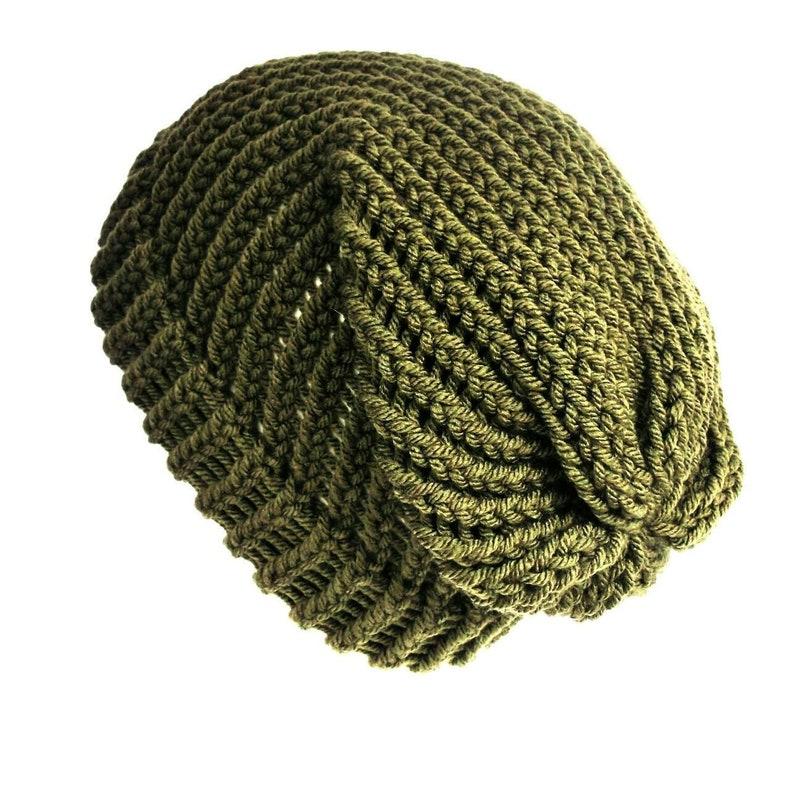ea30bdff9d936 Khaki green slouchy beanie hat acrylic wool beanie unisex