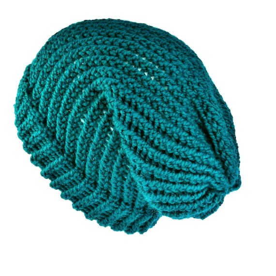 Knit teal hat slouch beanie hat soft acrylic vegan slouchy  0b287f43969
