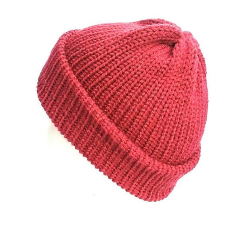 9ba9a904da7 Raspberry pink trawler beanie hat cuffed knit hat soft vegan