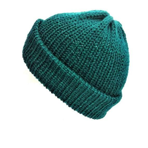 Knit teal hat trawler beanie hat with brim soft vegan wool  e6bb90a9fe3