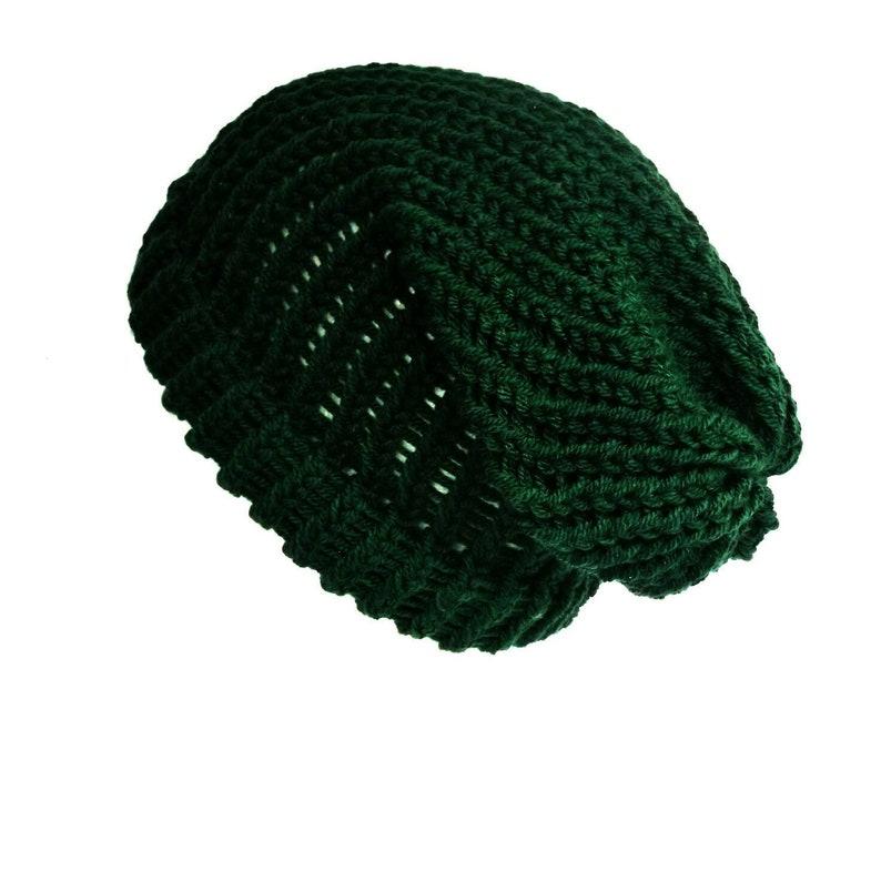 11272853e9c Bottle green slouch beanie hat soft vegan wool cap knitted