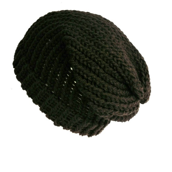 Dark brown slouchy beanie loose knit slouch hat handmade with  850aef1a5af1