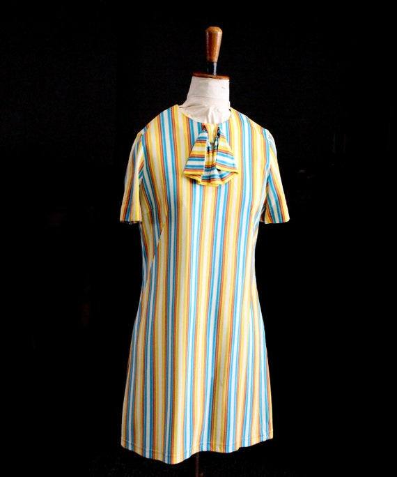 Retro Rainbow Stripe Dress