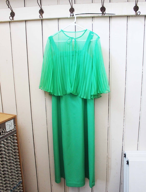 Vintage 1970s Lime Green Formal Dress and Bolero