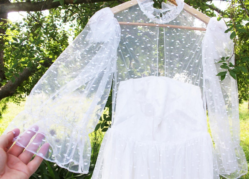 Vintage Polka Dot Lace Wedding Dress