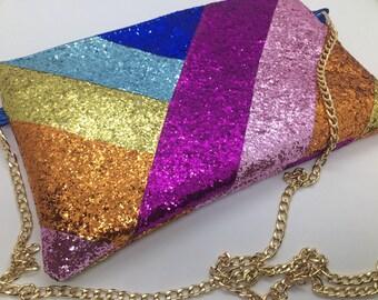 Custom made personalised rainbow glitter bag