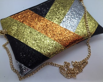 Metallic stripe glitter bag